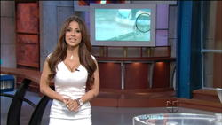 Jackie Guerrido Tight White Dress with Cleavage 4/10 Weather on Univision